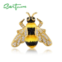 SANTUZZA Silver Brooch for Women Authentic 925 Sterling Silver Chic Gold Color Yellow Bee Fashion Trendy Jewelry Handmade Enamel