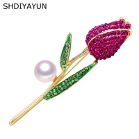 SHDIYAYUN 2019 Pearl Brooch Natural Freshwater Pearl Tulips Brooch Simple Pins for Women Jewelry Women's Accessories Mother Gift