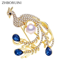 ZHBORUINI 2019 Natural Pearl Brooch Noble Peacock Pearl Breastpin Freshwater Pearl Jewelry For Women Christmas Gift Accessories