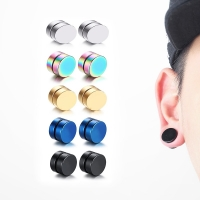 1Piece Punk Mens Strong Magnet Magnetic Ear Stud Set Non Piercing Earrings Fake Earrings Gift for Boyfriend Lover Jewelry