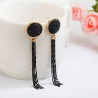 New Fashion Golden Silver Plated Dangle Hanging Black Rhinestone Long Drop Earrings For Women Jewelry brincos bijoux