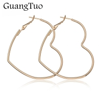 EK2095 New Cute Hollow Big Heart Hoop Earrings For Women Gold Silver Color Copper Simple LOVE Trendy Romantic Jewelry Nice Gifts