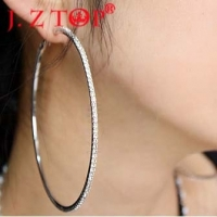 JZTOP  Big Crystal Hoop Earrings Large Classic Full Rhinestone Circle Earring For Women Party Round Trendy Brinco