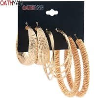 OATHYAN 3 Pairs/Set Classic Oversize Gold Color Metal Hoop Earrings Set Mix For Women Round Big Circle Earring Statement Jewelry