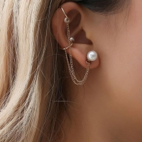2018 New Fashion Tassel Chain Imitation Pearl Earrings For Women Punk Style Ear Cuff Clip Earrings Female Jewelry