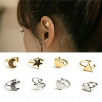1pc Fashion Statement No Pierced Ear Cuff Silver Gold Star Moon Heart Triangle Clip Earrings for Women Jewelry Accesorios Mujer