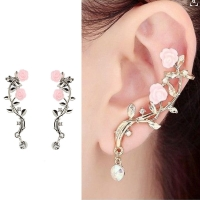 2018 New 2Pcs Elegant Flower Shape Rhinestone Left Ear Cuff Clip Gold & Sliver Color Boho Earring Ear Stud
