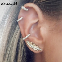 RscvonM Vintage Leaf Clip On Earrings Gold Colour Crystal Ear Cuff Pendientes De Clip Women Earrings Ear Wrap Earcuff Brincos
