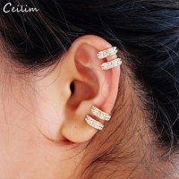 Crystal Earrings for Women Trendy Small Round Ear Cuff Gold and Silver Plated 2 Rows Rhinestone Clip Earrings Without Piercing