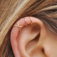 No Pierced Ear Clip Cross C Shape Clip On Earrings Ear Cuff Women Earrings Fashion 925 Sterling Silver Jewelry Ear Wrap Earcuff