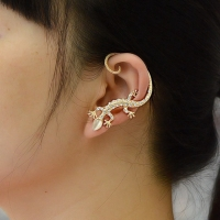 Jiao Yu Gothic Punk Crystal Lizard Ear Cuffs for Women Gold Color Silver Color Rhinestone Animal Geckos Clip Earrings 1PC