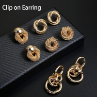 Hot Sale ZA Metal Maxi Statement Vintage Clip on Earrings Without Piercing  for Women Fashion Earrings Party Gift Bijoux Jewelry