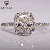 CC S925 Sterling Silver Rings For Women Bridal Wedding Anelli Trendy Jewelry Engagement Rings White Gold Color Anillos CC595