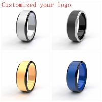 Drop Shipping Custom Name Sport  Logos 8mm Black/ Silver/ Gold Blue Titanium Rings Personalize Jewelry for Men Women DIY Logo
