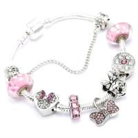 Animal Mickey Charm Bracelets & Bangles Women Jewelry Minnie Pink Bow-Knot Pendant Brand Bracelet DIY Handmade for Girl Gift