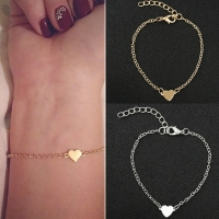 NS1 Hot Sale Charming Heart Bracelets&Bangles For Women Girls Gold Silver Color Metal Bracelets Statement Jewelry Wholesale