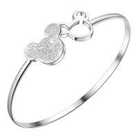 2020 Hot Sales Silver Color Mickey Shape Charm Bangles & Bracelet Women Fashion Jewelry Christmas Gifts Good Quality pulseira