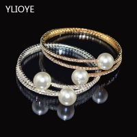 Fashion Imitation Pearl Crystal Bracelet Ladies Gold and Silver Bracelet 1/ 2 Row Rhinestone Pearl Bracelet Pulseras Mujer Gift