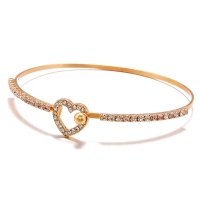 2019 Hot Fashion Gold Color Trendy Romantic Crystal Open Heart Charm Cuff Bracelets Bangle For Women Jewelry Summer Style Beach