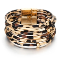 Amorcome Leopard Leather Bracelets For Women 2019 Fashion Bracelets & Bangles Elegant Multilayer Wide Wrap Bracelet Jewelry
