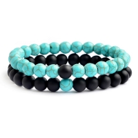 Set of 2 Couple Lover Relationship Bracelet Set Lava Beads Stone Bracelet Women Men Fashion Jewelry Gift for him pulsera