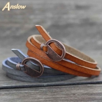 Anslow Brand New Design Fashion Jewelry Wholesale Vintage Multilayer Wrap Leather Bracelet For Men Women 65cm Gift LOW0232LB