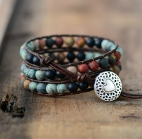 Vintage Leather Bracelets 6MM Matte Stone 3 Strands Wrap Bracelets Woven Multilayer Boho Bracelet Handmade Jewelry Dropship