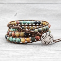 Women Bohemian Boho Bracelets Vintage Leather and Natural Stone 3 Multi-layer Strands Woven Handmade Wrap Bracelets Heart Charm