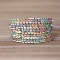 2019 colorful rope crystal beads Charm 5 Strands Wrap Bracelets Handmade Boho Bracelet Women&men Leather Bracelet