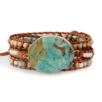 Women Leather Bracelet Unique Mixed Natural Stones Gilded Stone Charm 5 Strands Wrap Bracelets Handmade Boho Bracelet Dropship