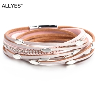 ALLYES Pink Color Leather Bracelets For Women 2020 Fashion Leaf Charm Crystal Boho Multilayer Wrap Bracelet Femme Jewelry