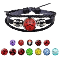Uchiha Clan Rinnegan Sharingan Eye Bracelet Anime Naruto Braided Leather Bracelet  Naruto Sasuke Itachi Kakashi Cosplay Jewelry