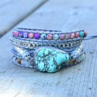 Newest Unique Mixed Natural Stones turquoises Charm 5 Strands Wrap Bracelets Handmade Boho Bracelet Women Leather Bracelet
