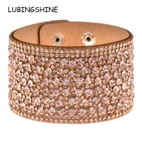 LUBINGSHINE Leather Rhinestones Wide Bracelets&Bangles Women Girls Handmade Men Charms Bracelet Wristband Party Jewelry Gift