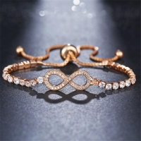 DIEZI New Luxury Chain Bracelet For Women Rose Gold Silver Cubic Zirconia Charm Bracelets & Bangles For Girls Wedding Jewelry
