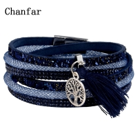 12Styles Multilayer Leather Tassel Bracelet Bohemian Feather Tree Charms Magnetic Velvet Bracelet Boho Women Men Jewelry