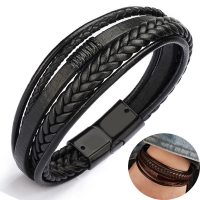 2020 leather bracelet men bangles for mens Magnetic-Clasp Cowhide Braided Multi Layer Wrap Bracelet man pulseras moda masculina