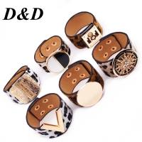 D&D Fashion Leopard Charm Leather Bracelets For Women Simple All-Match OL V Word Wide Cuff Bracelet Femme 2019 New Hand Jewelry