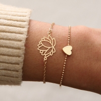 2pcs/Set Charm Romantic Bangles/Bracelet Set For Women Gold Metal Alloy flowers Heart Link Chain Twist Bangle Jewelry Kolye Gift