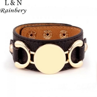Rainbery 2020 Hot Selling Monogram Leather Cuff Bracelet Pulseras 3 Row Gold Color Multicolor Leather Bracelet For Women Men