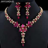 jiayijiaduo 5 colors new crystal wedding jewelry set women gold color necklace long earrings set dress accessories bridesmaid