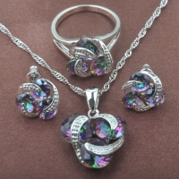 Classic Multicolor Rainbow Zircon For Women 925 Sterlig Silver Jewelry Sets Necklace Pendant Earrings Rings Free Shipping TZ0174