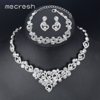 Mecresh Crystal Bridal Jewelry Sets Heart Shape Wedding Necklace Earrings African Beads Jewelry Sets Accessories TL310+SL285