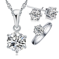 925 Sterling Silver Bridal Jewelry Sets For Women Accessory Cubic Zircon Crystal Necklace Rings Stud Earrings Set Gift