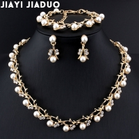 jiayijiaduo Classic Imitation Pearl necklace Gold-color jewelry set for women Clear Crystal  Elegant Party Gift Fashion Costume