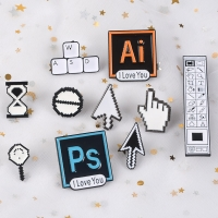 Classical Pixel Cursors Photoshop Toolbar Hourglass Computer Window Icon Mouse Pointer Hand Arrow Enamel Brooches Pins