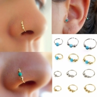 3Pcs/Set Fashion Retro Round Beads Silver Gold Color Nose Ring For Women Nostril Hoop Body Piercing Jewelry #248359
