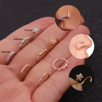 Feelgood 1PC Silver And Gold Color 20gx8mm Nose Piercing Jewelry Cz Nose Hoop Nostril Ring Flower Helix Cartilage Tragus Earring
