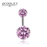 QCOOLJLY New Brand AAA Zircon Style Crystal Body Jewelry Belly Button Ring Body Piercing Navel Piercing Silver Color Ombligo