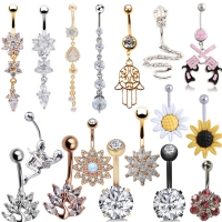 1pc  Sexy Dangling Navel Belly Button Rings Belly Piercing Crystal Surgical Steel 14g Woman Body Jewelry Barbell